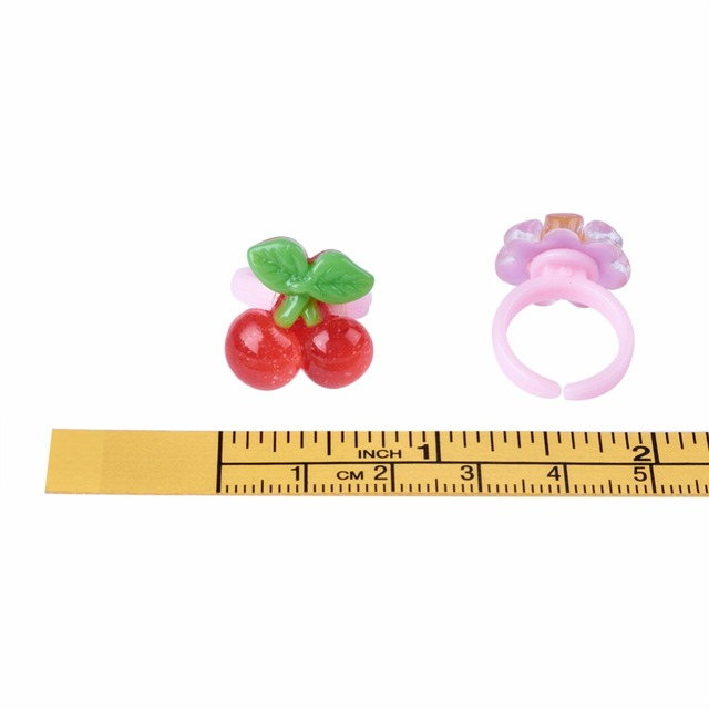 100pcs/box Cute Children's Day Jewelry Plastic Kids Rings for Girls, with Mixed Style Resin Cabochons, Mixed Color, 41mm