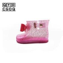 Mini Melissa Style 2019 New Bow Transparent Glitter Rain Boots Girls Rainboots Water Shoes Girls Sandals Waterproof Rain Boots