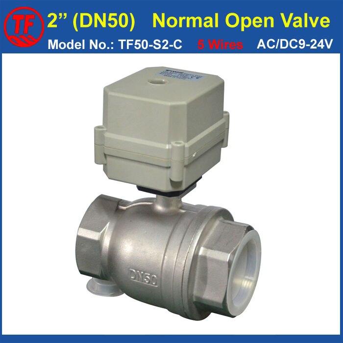 CE 100,000 Cercles Utilisant La Vie SS304 DN50 Normale Ouvert Électrique Vanne d'eau TF50-S2-C BSP/NPT 2 ''10Nm Sur/Off 15 Sec Metal vitesse
