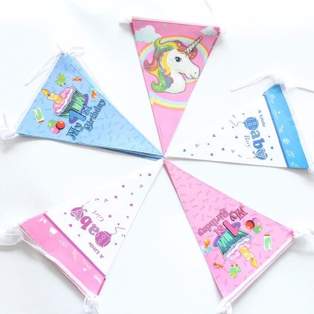 Eenhoorn 1 Eerste Verjaardag Vlag Banner Trolls Minnie Vlag Baby