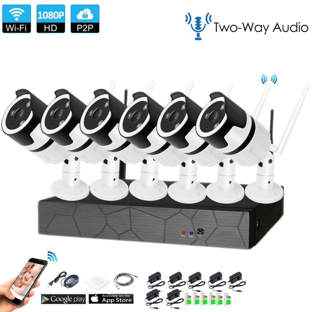 6CH audio bidireccional hablar HD inalámbrico Kit NVR P2P 1080 p interior al aire libre IR visión nocturna de seguridad 2.0MP IP cámara WIFI CCTV sistema