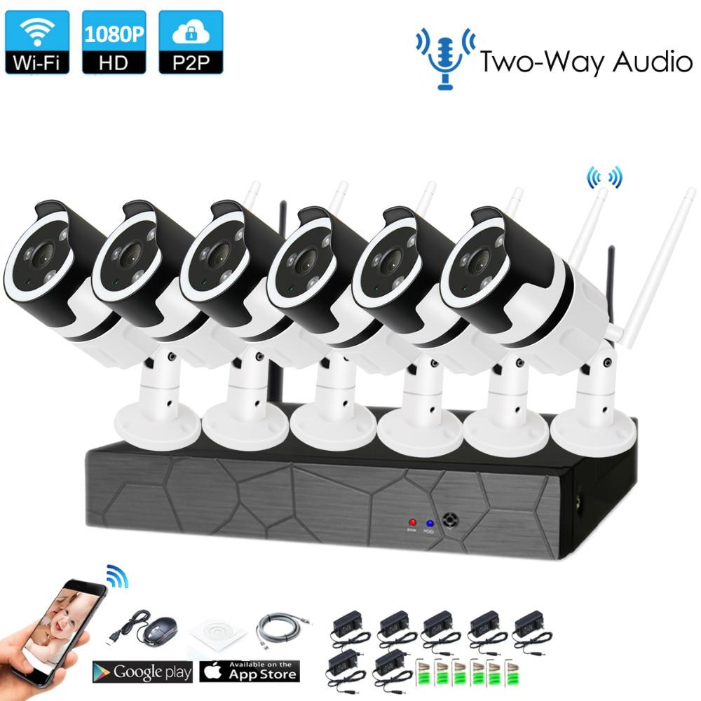 6CH zwei weg audio sprechen HD Wireless NVR Kit P2P 1080 p Indoor Outdoor IR Nachtsicht Sicherheit 2.0MP IP kamera WIFI CCTV System