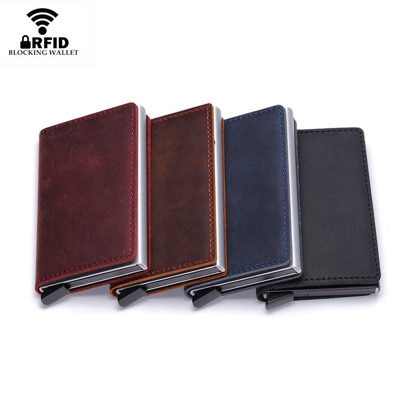 Genuine Leather Men Wallet Mini Purse Male Vintage Automatical Aluminium Rfid Card Holder Wallet Small Smart Wallet Money Bag Men's Bags Back To Search Resultsluggage & Bags