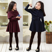Warm Winter Girls Dress Shawl Cloak Children Princes Dress 2017 New Style Long Sleeve 4 12