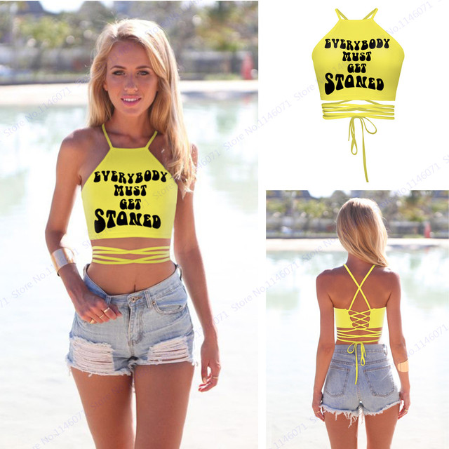 ff90fcb1701 Everybody Must Get Stoned Letter Print Crop Boob Tube Top Yellow Strappy  Bandage Swimming Tops Sexy Back Cross Beach Women