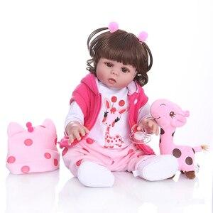Image 3 - NPK 48 CM bebe pop reborn peuter meisje pop in roze jurk full body zachte siliconen realistische baby Bad speelgoed waterdicht