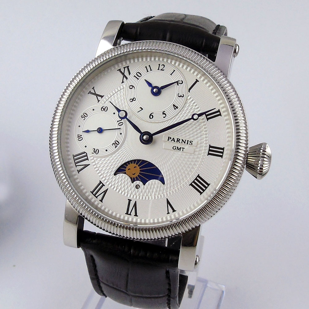 2018 Valentines gifts 42mm parnis White Dial GMT Moon Phase Blue Marks SS Case Leather strap Hand Winding Mechanical mens Watch2018 Valentines gifts 42mm parnis White Dial GMT Moon Phase Blue Marks SS Case Leather strap Hand Winding Mechanical mens Watch