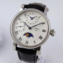 2019 Valentines gifts 42mm parnis White Dial GMT Moon Phase Blue Marks SS Case Leather strap Hand Winding Mechanical men's Watch