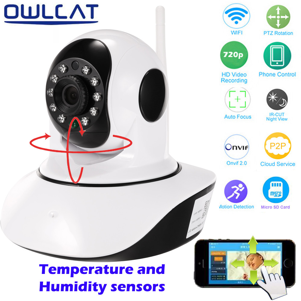 OwlCat HD Wireless IP Camera IR-Cut Night Vision Two Way Audio Network Onvif Pan/Tilt P2P Baby Monitor Wifi Home Security Camera escam hd 720p wireless ip camera wifi pan tilt two way audio p2p ir cut night vision onvif cloud home security camera sd card