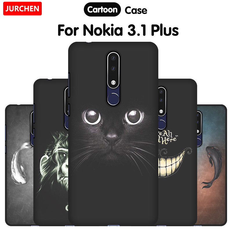 JURCHEN Phone Case For <font><b>Nokia</b></font> <font><b>3.1</b></font> <font><b>Plus</b></font> Case Cover Cute Cartoon Silicone Soft Back Cover Nokia3.1 For <font><b>Nokia</b></font> <font><b>3.1</b></font> <font><b>Plus</b></font> 2018 Case Bag image