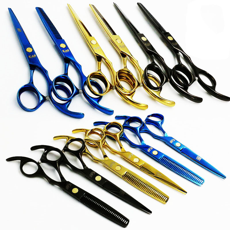 5.5 inç 6 inç KASHO Barber Salon Profesionale për prerje flokësh dhe gërshërë të hollë Prerje flokësh 3 flokë