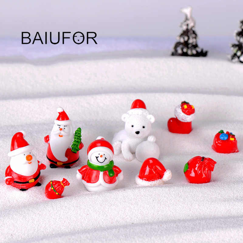 Christmas Miniatures.Baiufor New Christmas Miniatures Santa Claus Snowmen Diy Terrarium Accessories Fairy Garden Figurines Doll House Decor