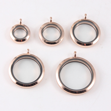 Round Rose gold Plain Twist Screw Floating Locket 316L Stainless Steel Memory Glass Pendant For Women
