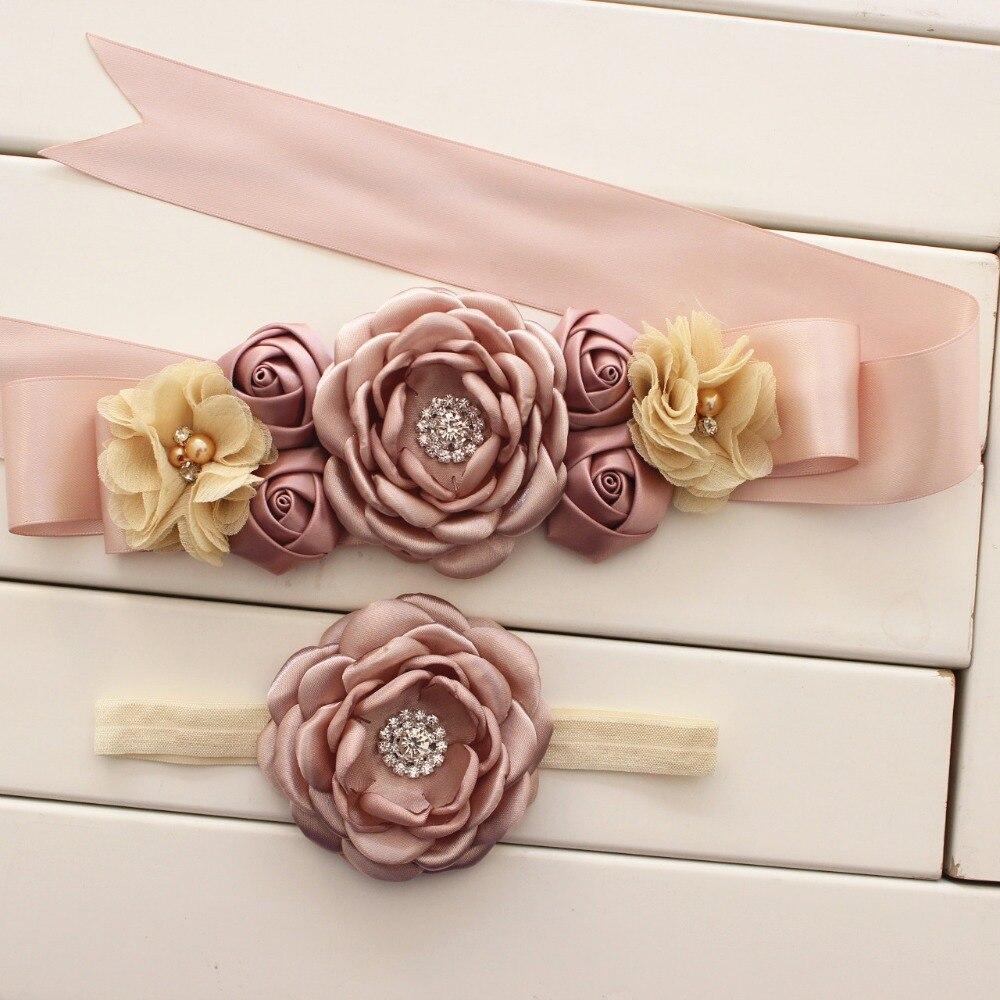 moda marco de la flor muchacha mujer fajas de novia sash cinturn a juego quemado