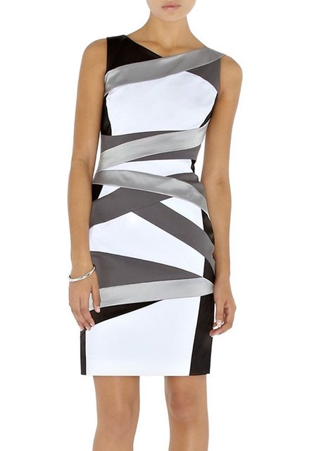 Hot Selling Europe Fashion Structured Bandage Slim Dress Black/White Casual Day Dresses DM045 (UK8-UK16)