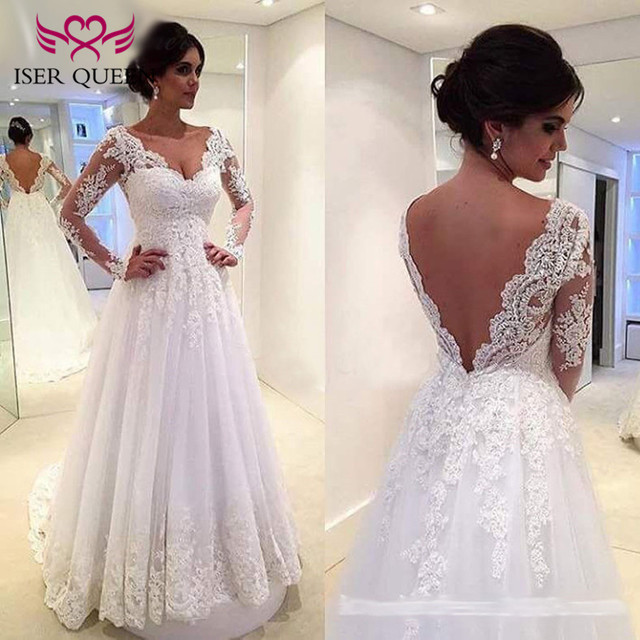 White Embroidery A Line Lace Wedding Dresses 2018 Long Sleeve Backless Plus Size Short Train Europe