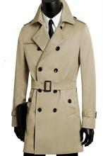 Men's coat spring and autumn plus size casual clothing mens double breasted long black trench coat men man slim outerwear khaki