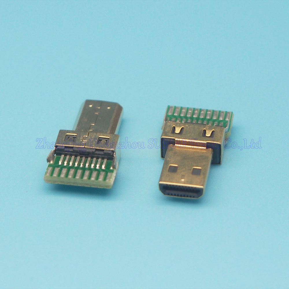 10pcs/lot Gold Plating HDMI D type male plug Micro HDMI Jack With PCB Board