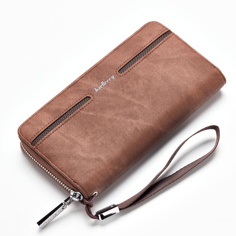 Business Men Wallets PU Leather Long Clutch Large Capacity Wallet Purse Hand Bag Top Zipper Card Holders Male Wallets