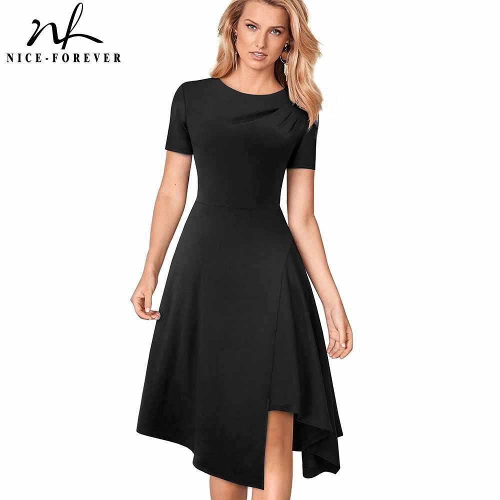 Хороший-forever Элегантный чистый цвет круглый вырез Pinup асимметричный подол vestidos А-силуэт Деловые женские вечерние расклешенные качели платье A118