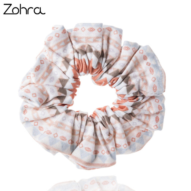 Zohra Fashion Young Hair Accessories 3D Digital Printing Scrunchy Women Hair Scrunchies Elastic Hair Bands Headwear