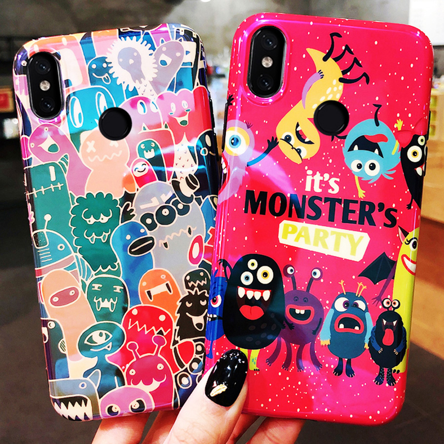 fashion blue ray cartoon phone case for xiaomi mi 9 A2 8 mix 3 glossy tpu+pc hard back cover for xiaomi mi A2 case shell capa