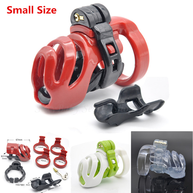 New Resin Small Male Chastity Device Penis Lock Adult Bondage Cock Cage With 4 Size Cock Rings Chastity Belt Sex Toys For Men sex shop small male penis confinement chastity cage metal cock ring cockring chastity belt toy sex toys for men free shipping