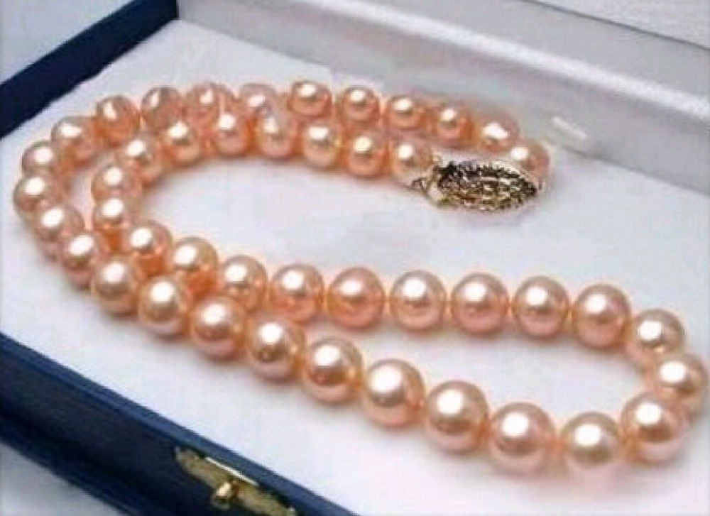10-11MM REAL SOUTH SEA PINK PEARL NECKLACE 18 INCH>Selling jewerly free shipping