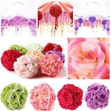 1Pcs 15cm Artificial Silk Flower Rose Kissing Balls Bouquet Centerpiece Pomander Party Wedding decorations