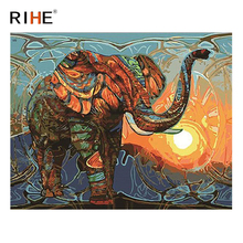 RIHE Sunset Elephant Diy Painting By Numbers Animal Oil On Canvas Hand Painted Cuadros Decoracion Acrylic Paint 40X50CM