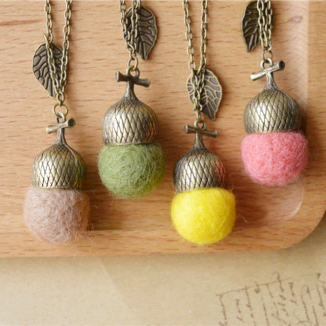Flyleaf Original handmade wool felt Acorn long Necklaces & Pendants collar 2015 vintage jewelry accessories