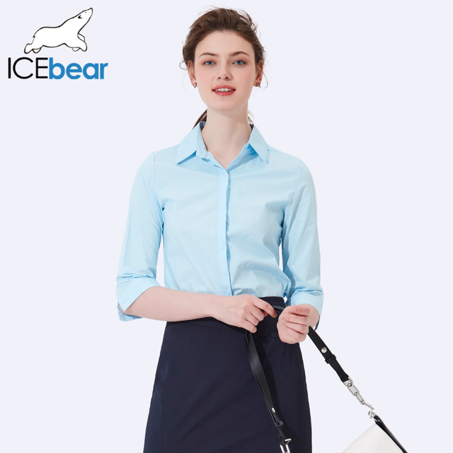 ICEbear 2017 Summer New Three Quarter Simple Fashionable All-match  Shirt  Summer Thin Breathable Slim  Shirts Women 2004D