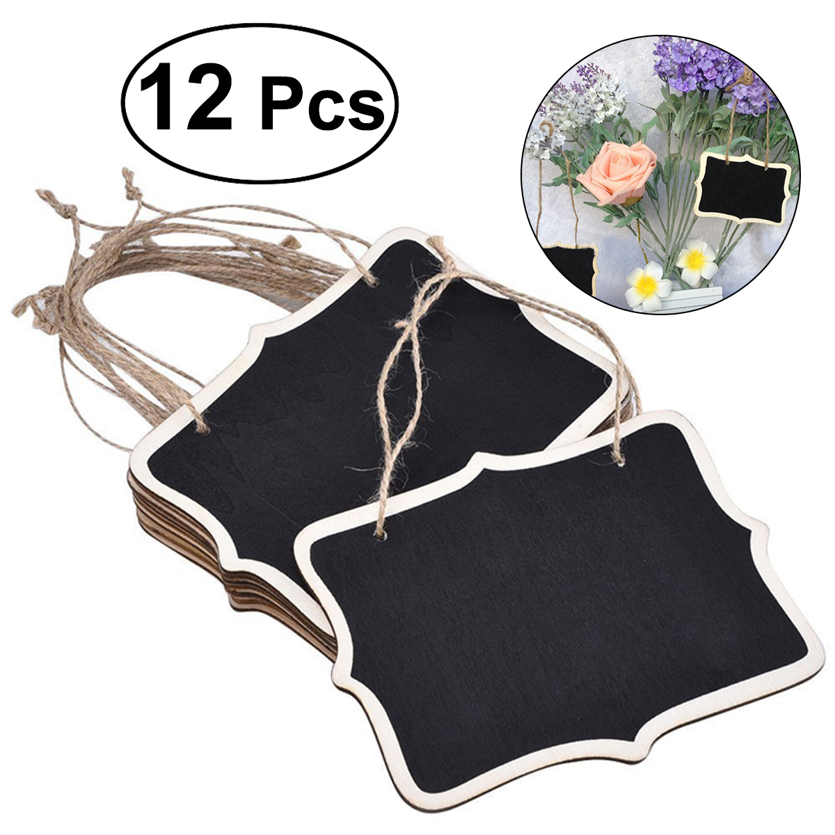 Obedient 12pcs Mini Chalkboards Rectangle Blackboard Tags Hanging Message Board Signs For Weddings Kids Crafts Wood Diy Crafts