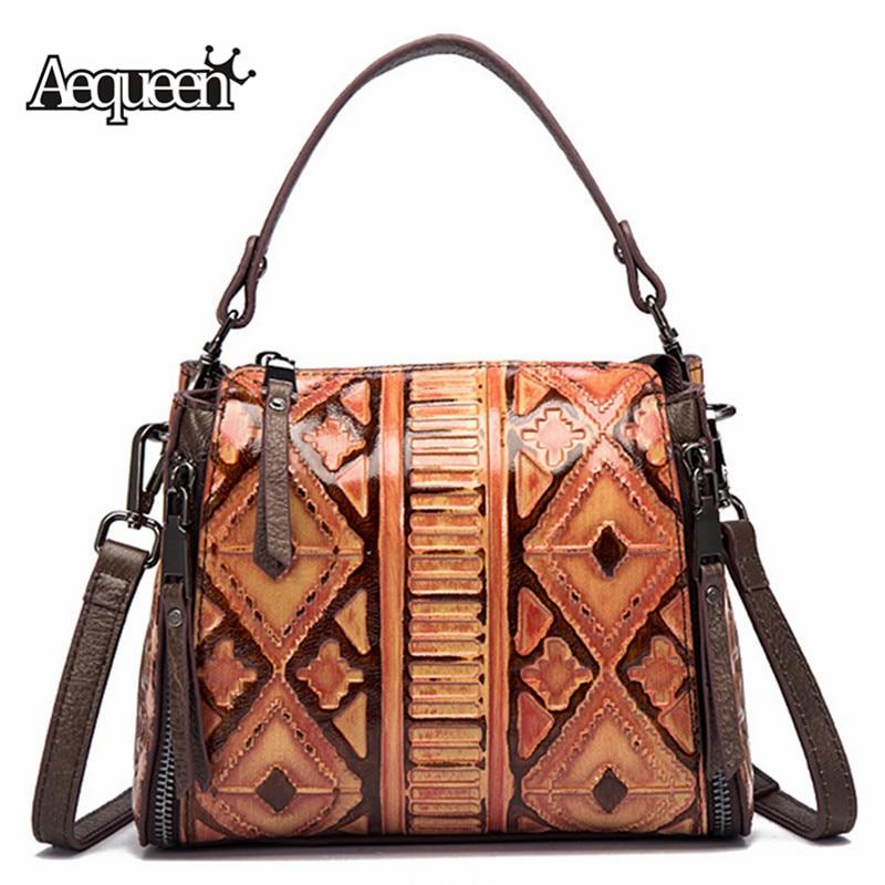 цена AEQUEEN Women Genuine Leather Messenger Shoulder Bag Female Small Luxury Handbag Vintage Crossbody Bag Ladies Totes Purse Bolsa в интернет-магазинах