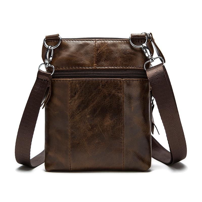 Image 4 - Genuine Leather shoulder bags men Crossbody Bag Designer Natural cowhide Shoulder Bags Vintage Small Flap Pocket Handbag-in Crossbody Bags from Luggage & Bags