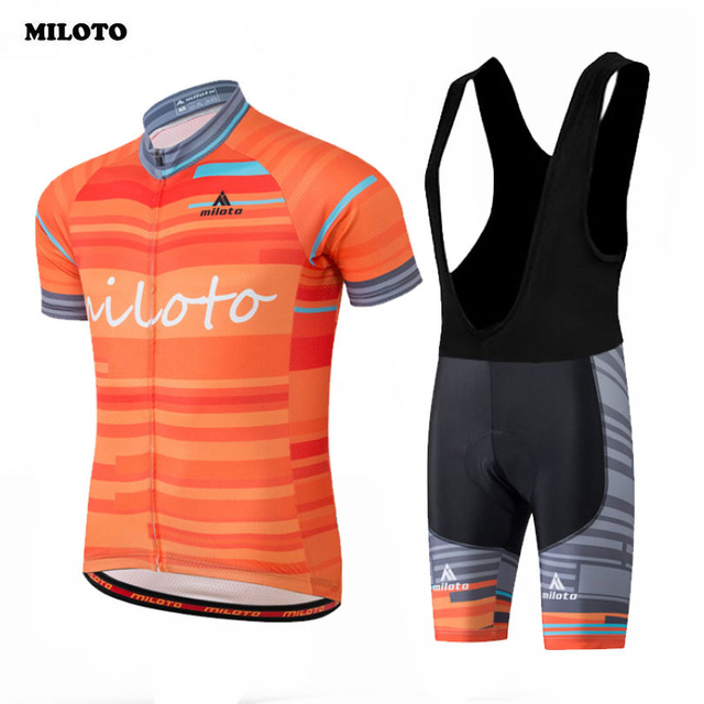 MILOTO Team Men Ropa Ciclismo Pro Cycling Jersey Short Sleeve Bike Outfit  Sports Bicycle Top Breathable Bib Shorts Sets Orange a1314a21d
