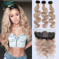 7A Cheap Malaysian Virgin Hair Body Wave Bundles With 13x4 Silk Base Frontal Closure Ear to Ear Ombre #1B/27 Honey Blonde Color