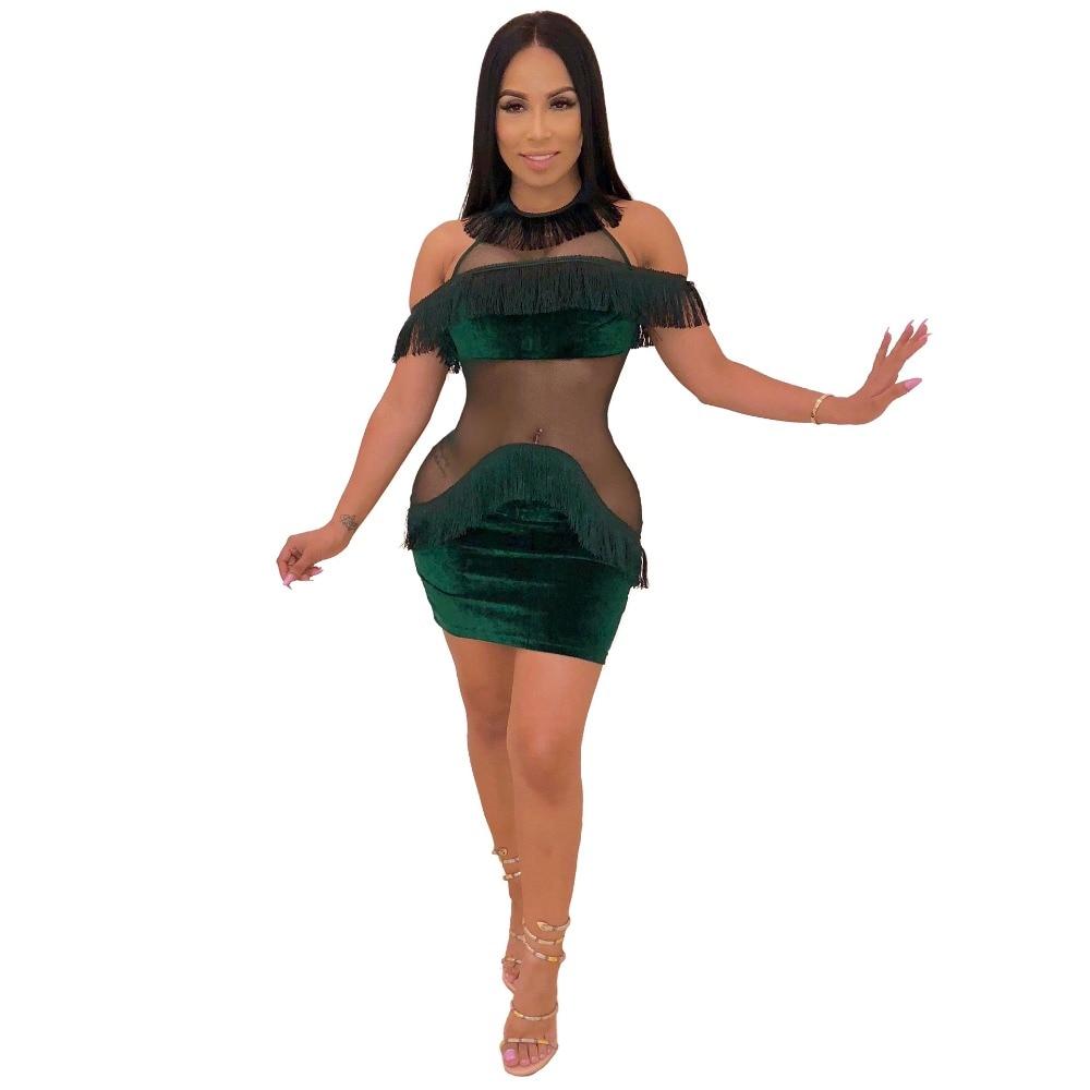 Splicing Fiesta Malla Bodycon Dress S Sexy Borla Transparente Hombro 2xl Mujeres Ver Dress Vestido Terciopelo black Vestido Cuello burgundy Mini De Blue Colores Las 4 green Frío Aunque Dress Dress tvwqPna