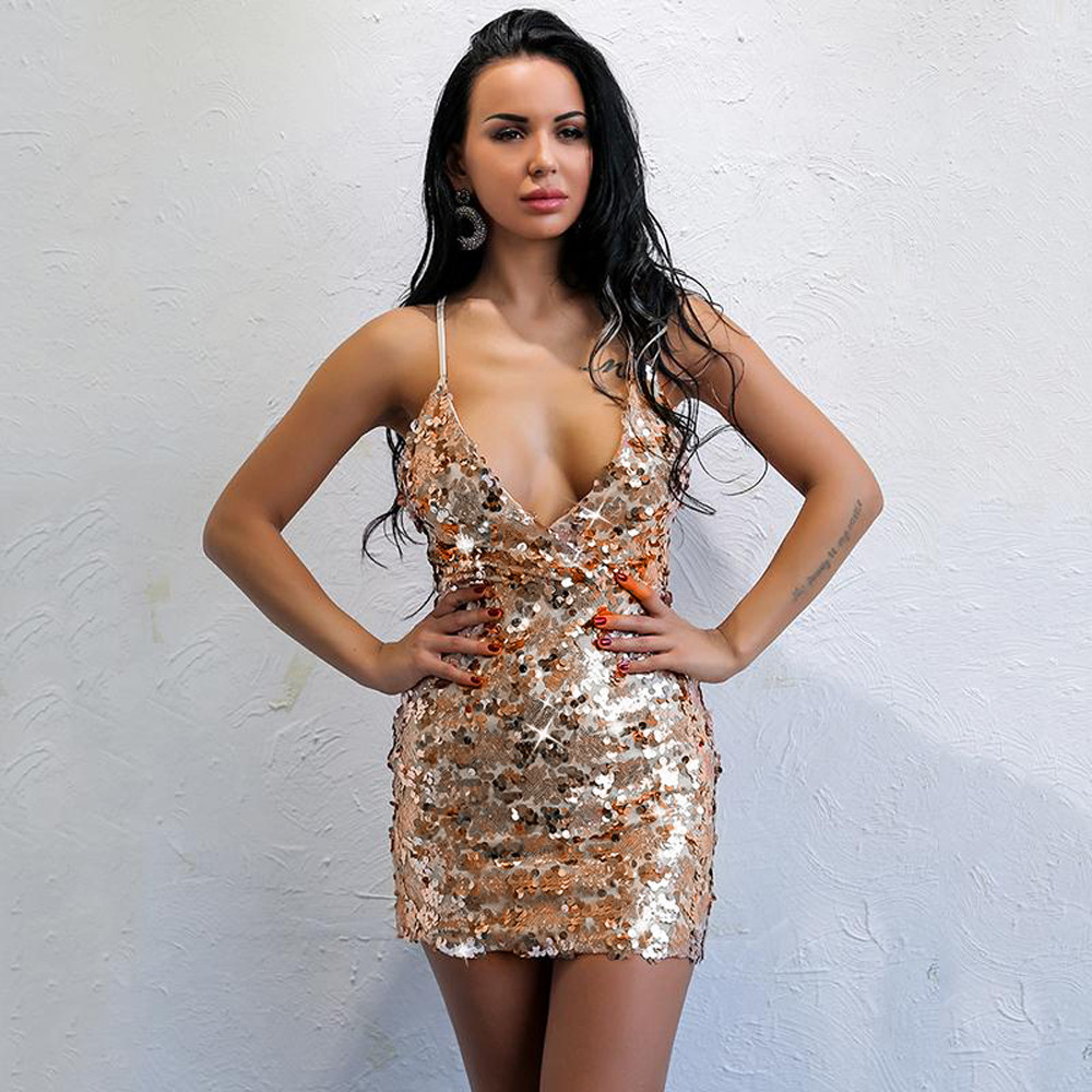 Detail Feedback Questions about Sexy Deep V Neck Sequined Dress Beige Backless  Women Off Shoulder Mini Dress Short Christmas Party Club Strap Dresses ... e804a6af46be