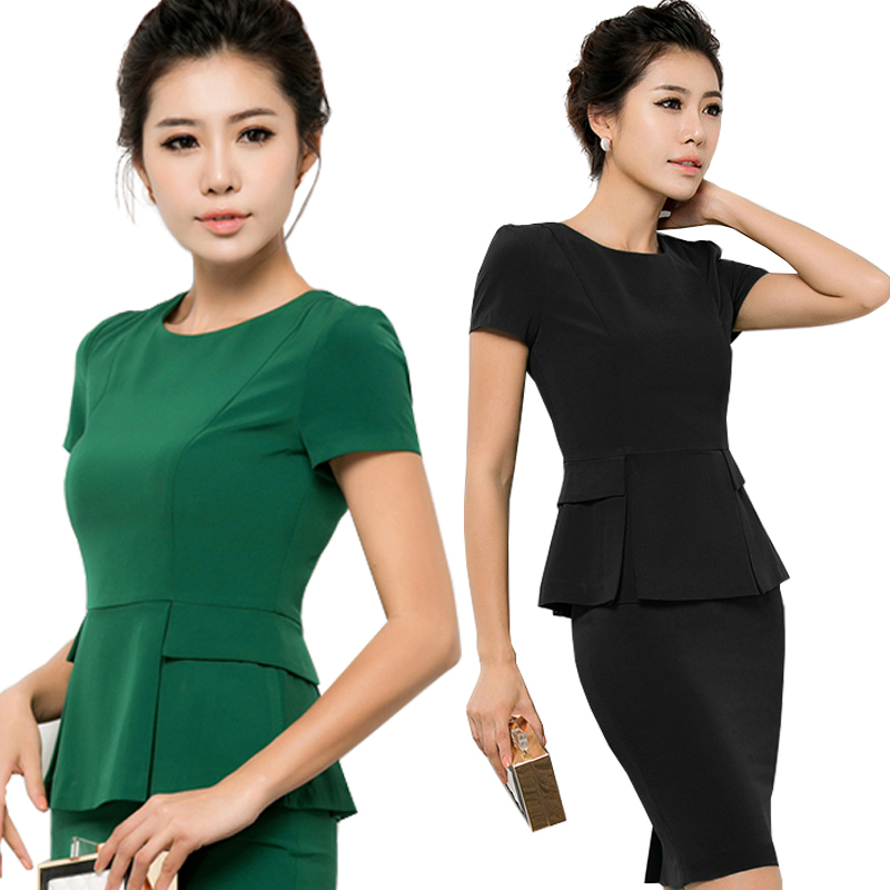 New Women Business Suits Summer 2019 Fashion Elegant Office Lady Black Short-sleeve Blazer + Skirt Suits Formal OL Workwear Sets