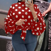 Summer Office Ladies Streewear Plus Size Red Elegant Blouses Woman 2019 Casual Long Lantern Sleeve Polka Dots Fall Female Top