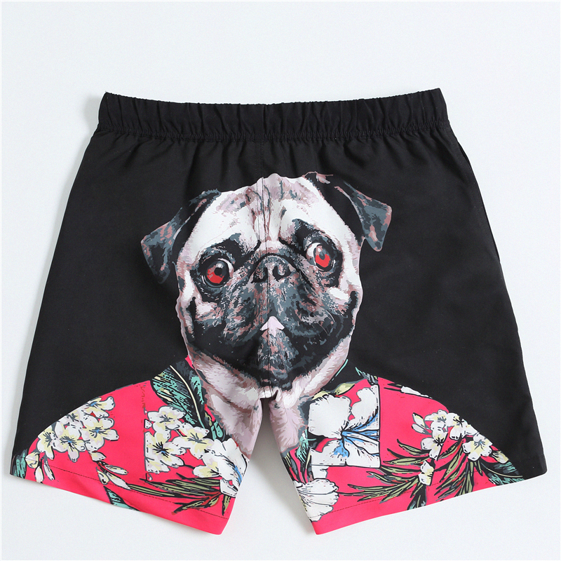 Men's   Board     Shorts   Swim Trunks Swimwear 3D Pugs Head Printed Beach   Shorts   Quick Dry Surfing   Shorts   Swimsuit Maldives Swim Wear