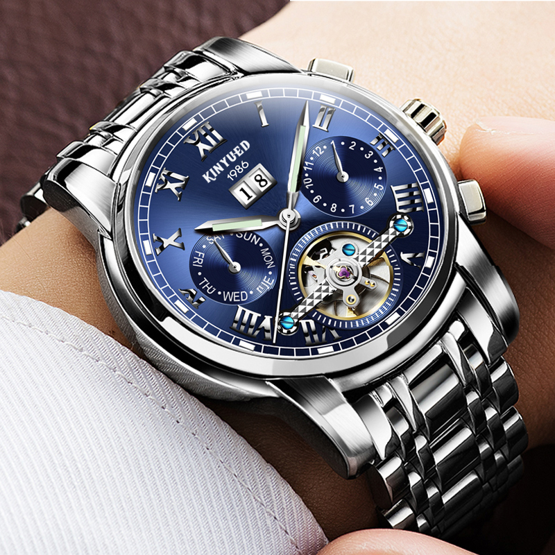 KINYUED Stainless Steel Tourbillon Automatic Watch Waterproof Mechanical Calendar Auto Date Fashion Casual Business Watches Men hot new casual fashion lovers watch men women luxury automatic mechanical watches calendar waterproof stainless steel wristwatch
