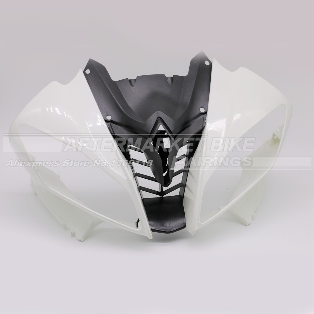 100% Virgin ABS <font><b>Plastic</b></font> Front Fairing Head <font><b>For</b></font> <font><b>Yamaha</b></font> YZF <font><b>R6</b></font> <font><b>2008</b></font> 2009 2010 2011 2012 2013 2014 Upper Fairing Nose Cowling NEW image