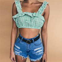 Women Sexy Plaid Bralette Halter Cropped Top Fashion Cute Camisole 2018 Summer Female Linen Sleeveless Tank