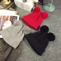 Skullies Winter Casual Pom pom Beanie For Lady Female Chapeu Toca bonne gorras gorro bonnet Women Snowboard Black Grey Red Hat