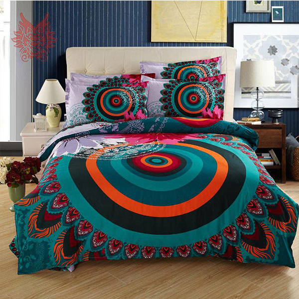 Free Ship Multi Color Ethnic Print 100 Cotton Tribute Silk Duvet Cover Bed Sheet Pillowcase 4pcs