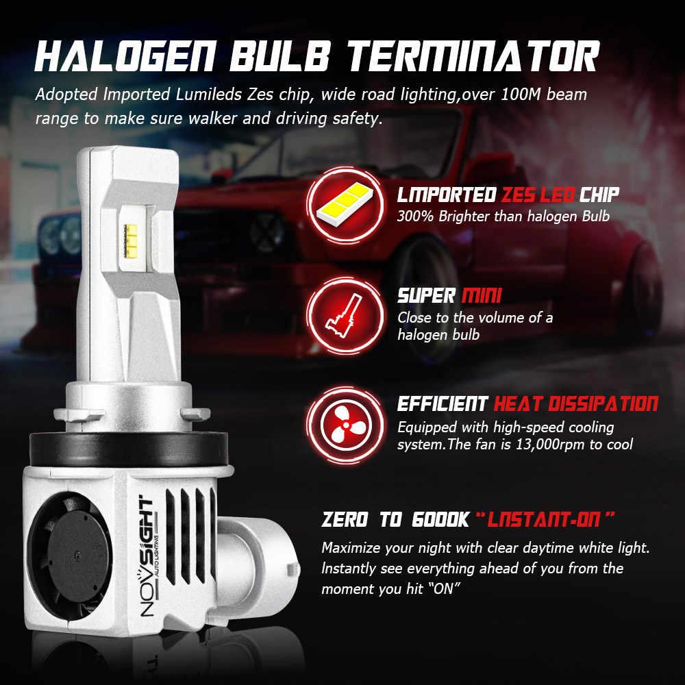 NOVSIGHT 2pcs Car Styling LED Car Headlights H4 H7 H8 H9 H11 9005 9006 LED 55W 10000lm 6000K white LED Auto Headlamps 1:1 Design