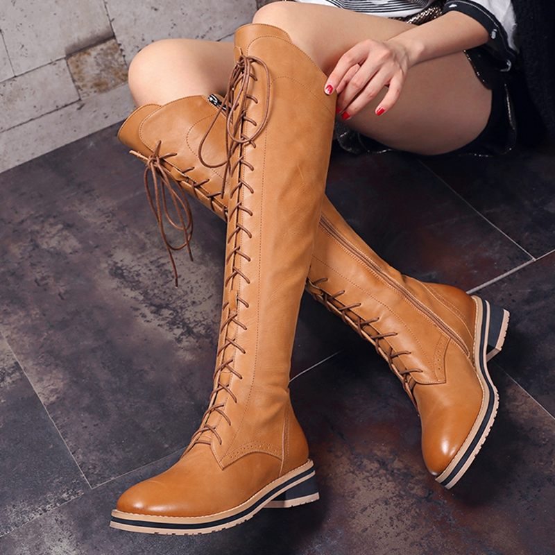 2016 Fall Winter font b Women s b font Flat Knight Boots Genuine Leather Lace up