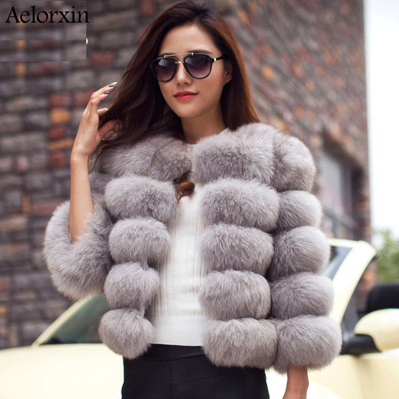 Aelorxin Women Faux Fur Coat Jacket Winter Fur Coat Female Fashion Elegant High Imitation Girl Fur Coat Extra Thick Super Warm